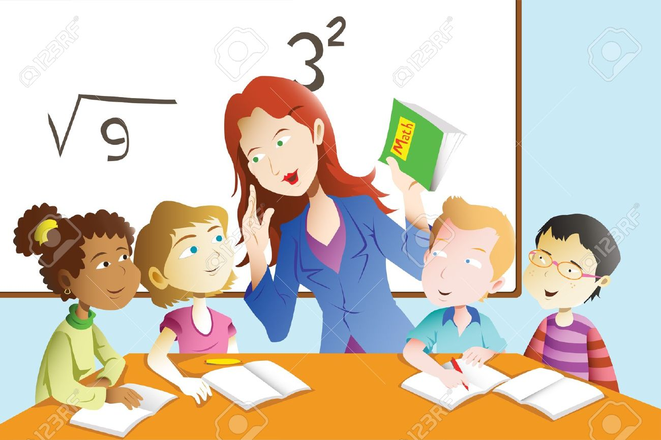 20175387-a-vector-illustration-of-kids-studying-math-in-classroom-with-teacher
