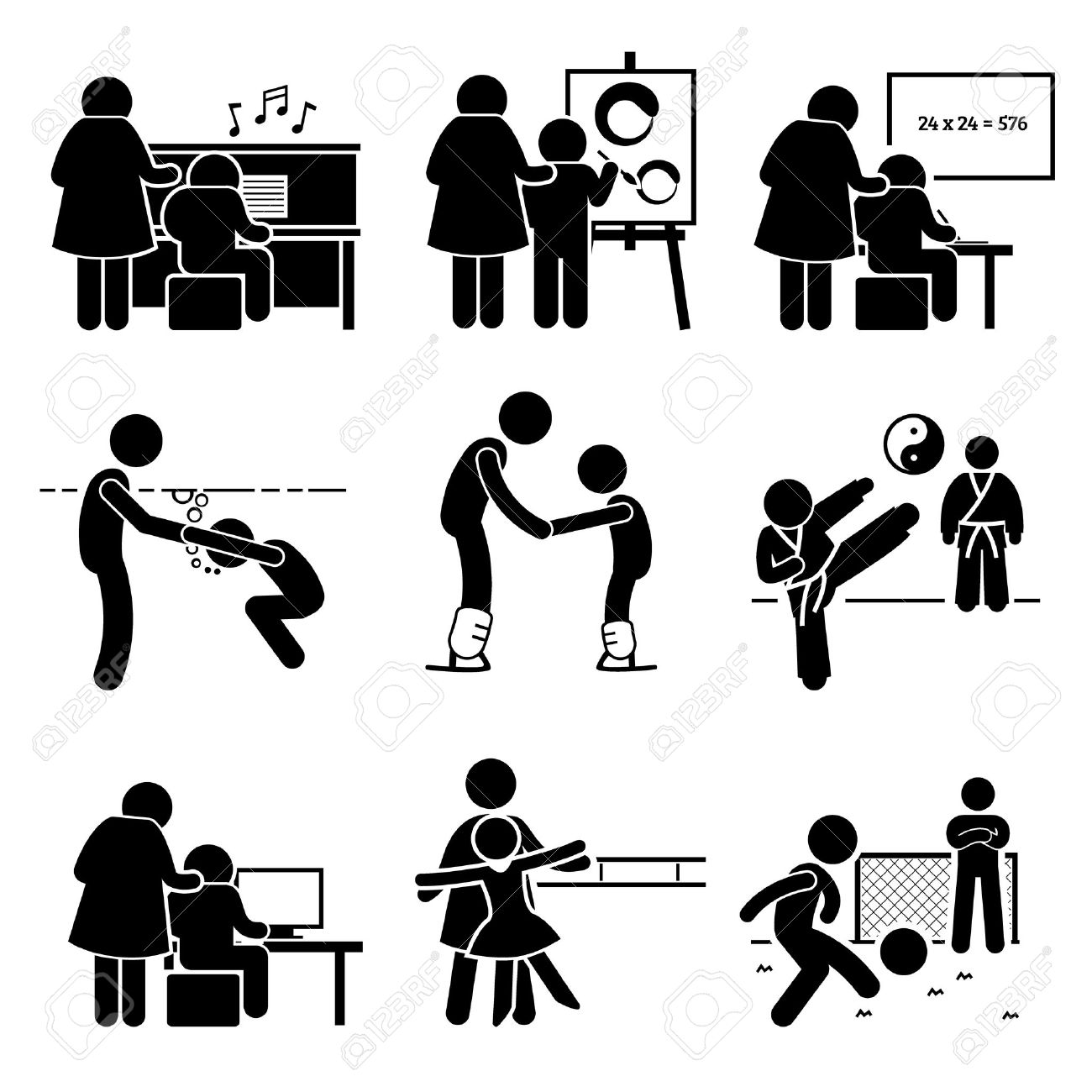 46870094-Student-Learning-Music-Art-Academic-Swimming-Martial-Arts-Football-Computer-Dancing-and-Ice-Skating--Stock-Vector