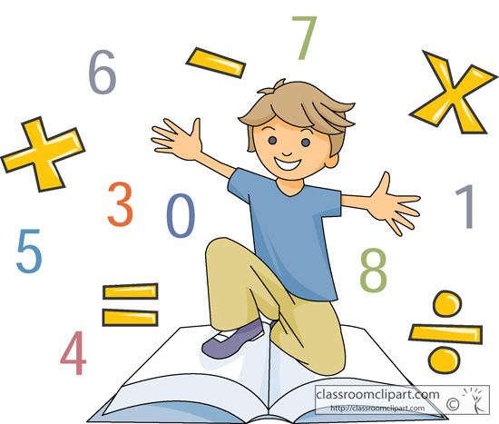 Boy with Math Book Surrounded by Symbols Clipart